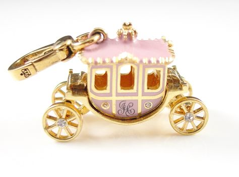 Find Prince Charming with this sweet Juicy Couture pink princess carriage charm. ;14k gold plated, this charm features crystal accents and movable wheels.