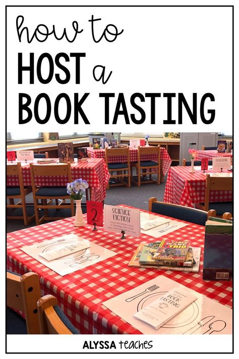 How to Host a Book Tasting - Alyssa Teaches : Book tastings are a great way to expose students to new genres, authors, and titles. Click through to read all about how to do a book tasting in your elementary classroom or library! School Library Lessons, Elementary School Library, Elementary Schools, School Library Themes, Library Skills, Elementary Teacher, Upper Elementary, Elementary Classroom Themes, 4th Grade Classroom