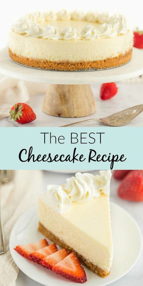 This Classic Cheesecake Recipe is super smooth, creamy, and topped on a homemade graham cracker crust. This post also includes a lot of helpful tips to get the perfect cheesecake every single time, plus different topping options to really make this recipe your own! #cheesecake #recipe #dessert #classic