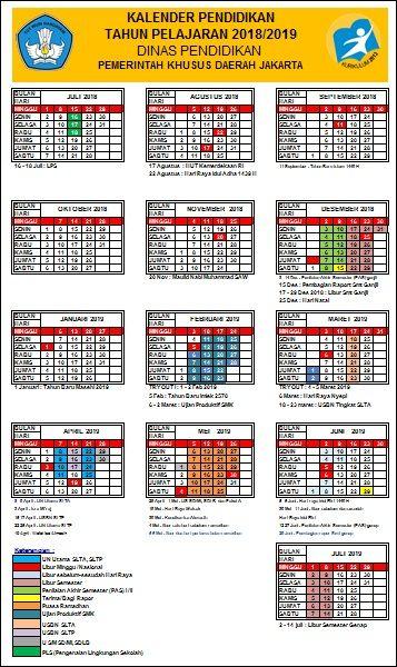 Kalender Pendidikan Tahun Pelajaran 2018 2019 Pendidikan Kalender Matematika Kelas 4