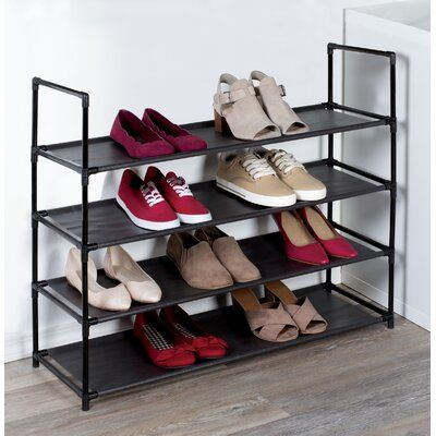 Rebrilliant 4 Tier Plastic 12 Pair Stackable Shoe Rack In 2020 Space Saving Shoe Rack Stackable Shoe Rack Plastic Shoe Rack