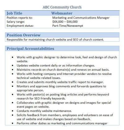 Sample Church Employee Job Descriptions Job description, Young - marketing manager job description
