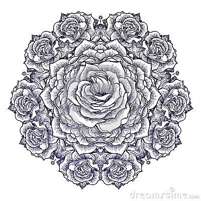 Fashion Boho Beautiful Roses Flower Mandala Stock Vector Illustration Of Nature Beauty 110843350 In 2020 Flower Mandala Mandala Rose Beautiful Roses