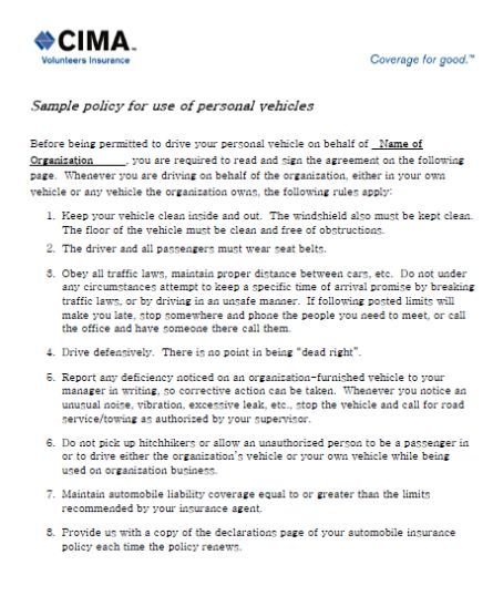 Company Car Policy Template Instant Downloadable Word Format
