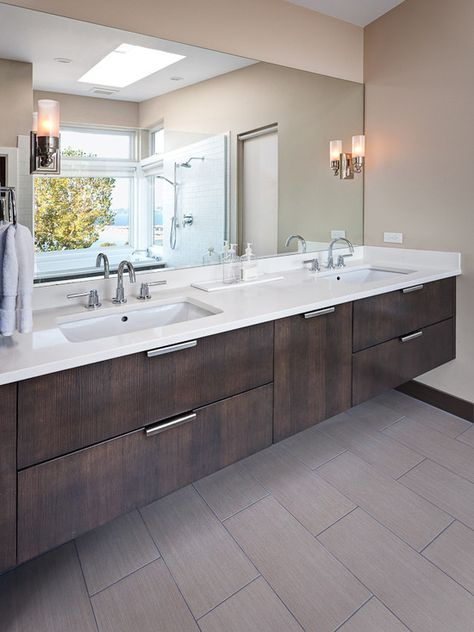 Contemporary Grey Porcelain Wood Tile Design Pictures Remodel Decor And Ideas Page 5 Sink Design Contemporary Bathroom Designs Wood Bathroom Vanity