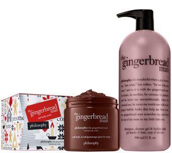 Philosophy Super Size Gingerbread Man Bubble Scrub Kit A341676 Beauty Beautista Cosmetics Makeup Philosophy Skin Care Body Skin Care Hair Care Regime