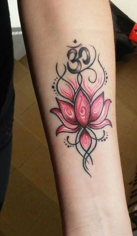 Meli Bohemian Tribal Watercolor Pink Lotus Flower Black Temporary
