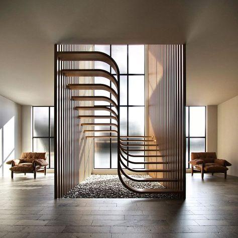 Esta Escada Minimalista Parece Uma Fita De DNA Dentro De Casa Home Stairs Design, Home Room Design, Modern House Design, Home Interior Design, Stair Design, Staircase Design Modern, Stairs Architecture, Interior Architecture, Interior Staircase