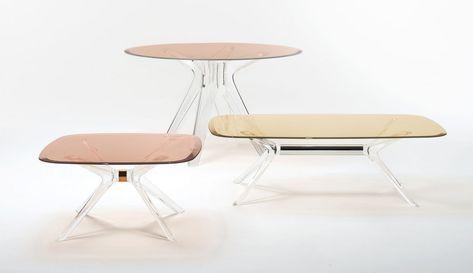 Table Basse Blast Verre Kartell Jaune Transparent Table