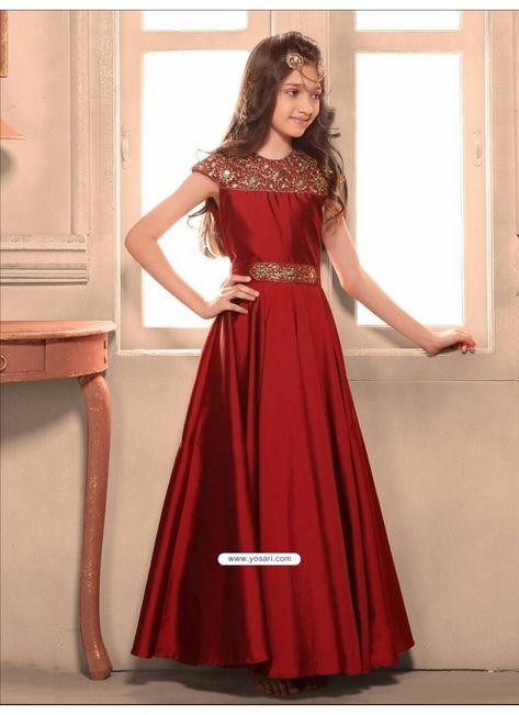 Scintillating Maroon Taffeta Silk Gown Model: YOG333