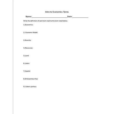 Free Printable Economics Worksheets Economics Lessons Economics Middle School Lesson Plans 3rd grade economics worksheets