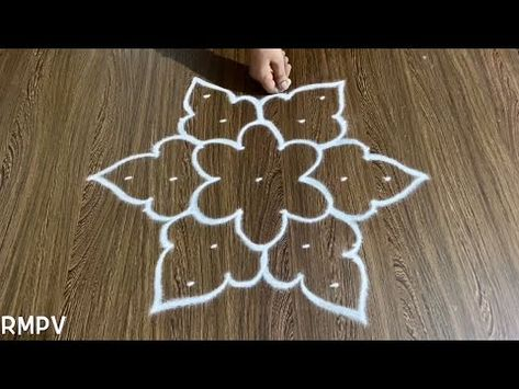 Simple Rangoli Design with 7x4 Dots and Beautiful Colours for Beginners | Easy Daily Kolam