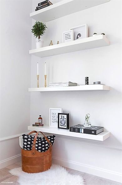 White Floating Shelves Are The Best Way To Create A Showcase Nook