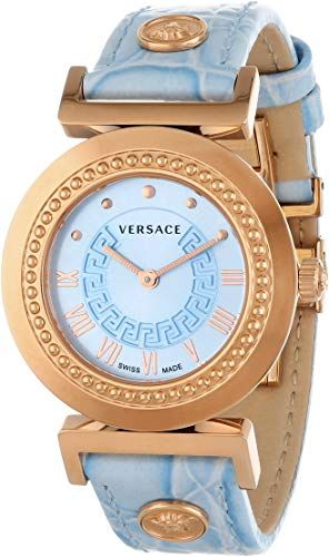 Versace Women's Vanitas Rose Gold Ion-Plated Light Blue Dial Leather Watch