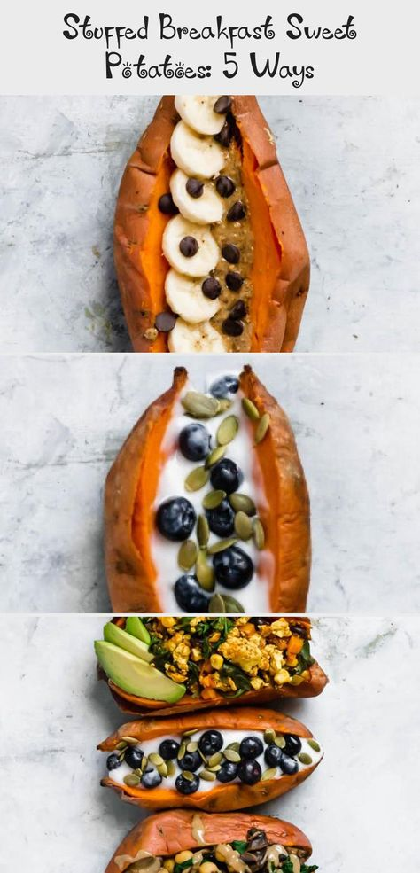 Switch up your morning meal by trying these Stuffed Breakfast Sweet Potatoes! There are 5 different recipes, with sweet and savory options. These are healthy, tasty, easy to make. (vegan & gluten-free) #Christmasbreakfast #Quickbreakfast #breakfastCake #breakfastSnapchat #breakfastMuffins