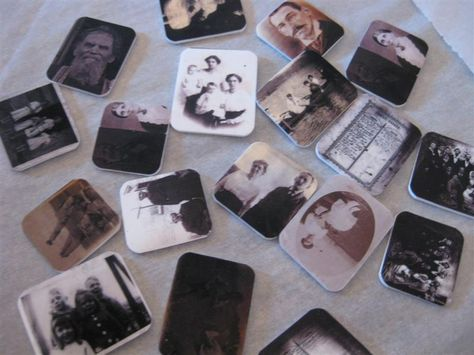 Family photos printed onto shrinky Dink paper...punch a hole in them...tie a bow to them and hand them out at your family reunion.