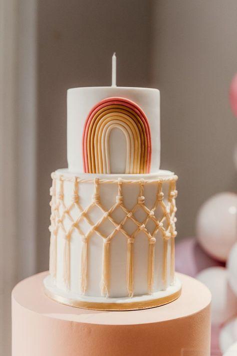 Rainbow First Birthday, Baby Birthday, Birthday Party Ideas, 13th Birthday, Ideas Party, Birthday Parties, Pretty Cakes, Cute Cakes, Bolo Cake