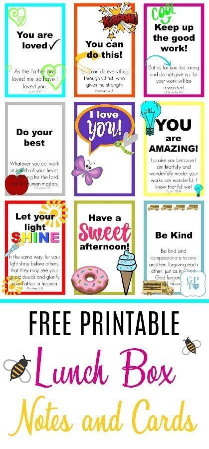 Free Printable Lunch Box Notes Cards Printable Lunch Box Notes