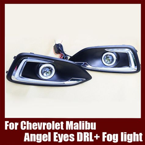 For Chevrolet Malibu 2015 2017 Cob Angel Eyes Drl With Fog Lights Projector Lens Lamp Bumper Cover Chevrolet Malibu Projector Lens Angel Eyes