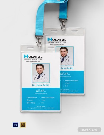 Hospital Identity Card Template Free Pdf Psd Illustrator Id Card Template Card Template Free Business Card Templates