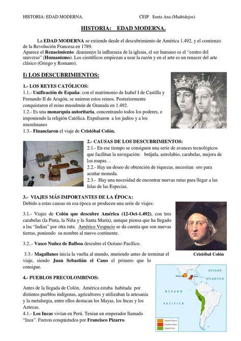 HISTORIA: EDAD MODERNA. Spanish  Apuntes sobre la Edad Moderna en España para 6º de Primaria.