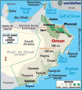 Oman Map Geography Of Oman Map Of Oman Worldatlas Com Oman Map Sultanate Of Oman