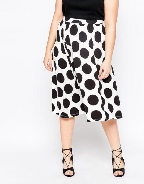 temperament shoes retail prices top quality ASOS CURVE Midi Skater Skirt In Polka Dot (Plus Size)