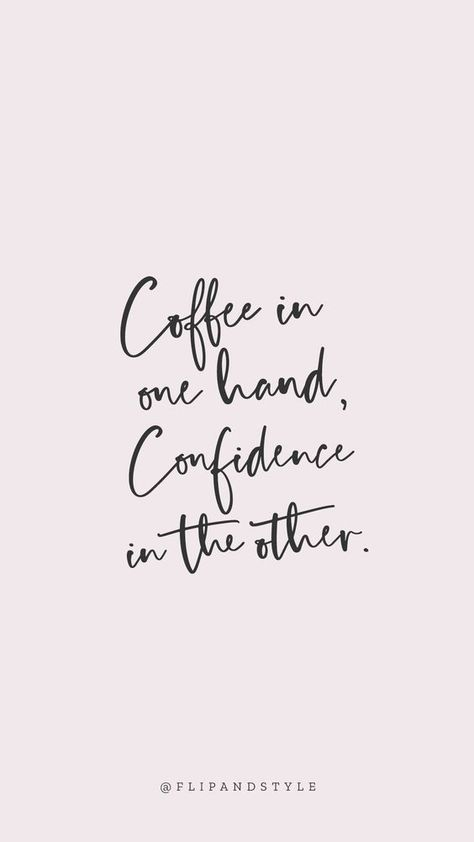 ♡ Blush pink background, lettering font - coffee & confidence