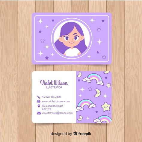 Hand drawn kawaii character business card template Free Vector | Free Vector #Freepik #vector #freebusiness-card #freebusiness #freecard #freestar Cute Business Cards, Artist Business Cards, Free Business Card Templates, Creative Business Cards, Graphic Design Branding, Graphic Design Posters, Business Card Design Inspiration, Decor Inspiration, Bussiness Card