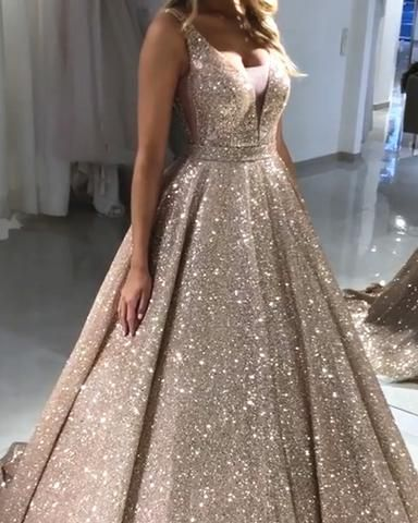 d343403ee6 Luxurious Sequin V-neck Ball Gowns Prom Dresses 2019 in 2019 | SWEET ...