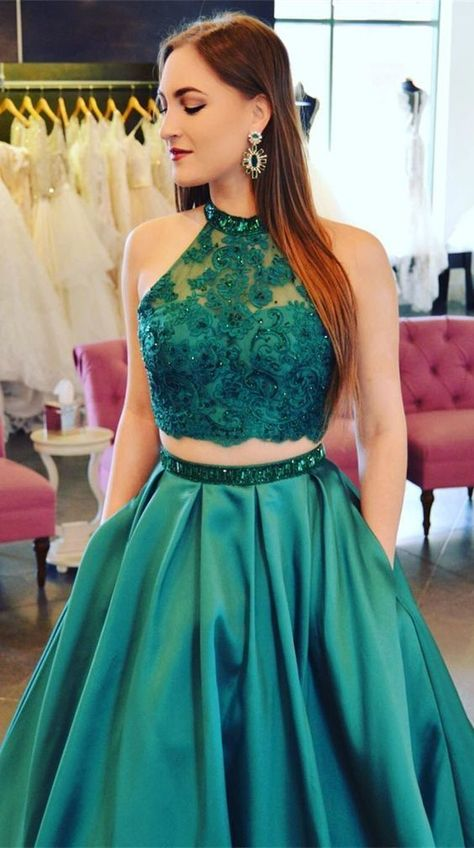 036f65a756c Two Piece Jewel Floor-Length Hunter Prom Dress with Pockets Lace