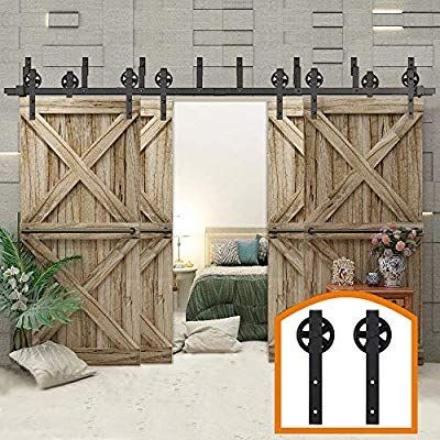 Amazon Com Zekoo Rustic 10 16 Ft Bypass 4 Doors Barn Door Hardware Sliding Black Steel Big Wheel Roller T Rustic Barn Door Bypass Barn Door Hardware Barn Door