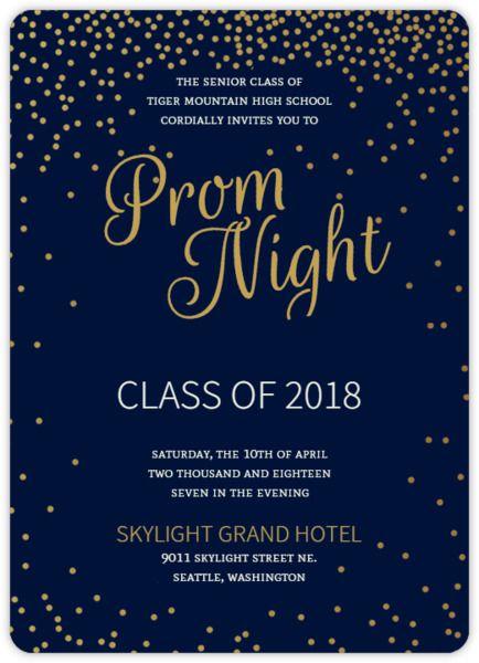 Golden Confetti Stars Prom Invitation Prom 2018 A Night in the