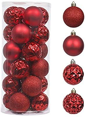 Amazon Com Valery Madelyn 24ct 60mm Essential Red Basic Christmas Ball Ornaments Shatterproof Xmas In 2020 Christmas Tree Decorations Ball Ornaments Tree Decorations
