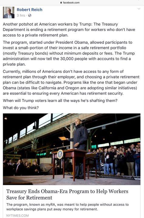 Treasury Ends Obama-Era Retirement Savings Plan Random stuff - retirement program
