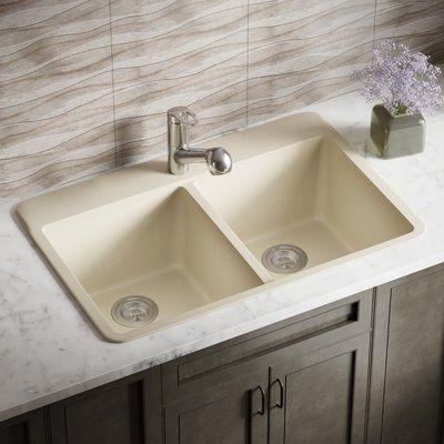 Mrdirect Granite Composite 33 L X 22 W Double Basin Drop In