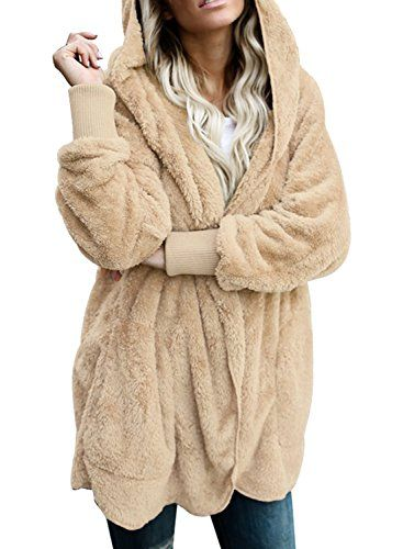 24c13a4e81d SALE PRICE - $24.99 - Dokotoo Womens Fuzzy Open Front Hooded Cardigan Jacket  Coat Outwear with Pocket
