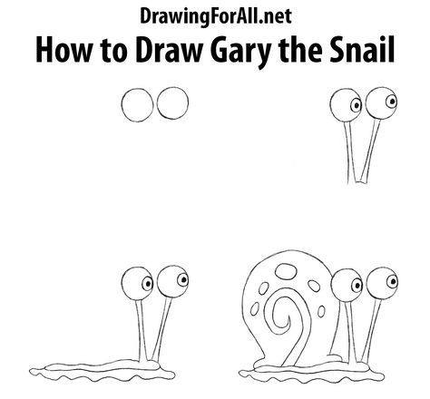 How To Draw Gary The Snail From Spongebob Spongebob Drawings