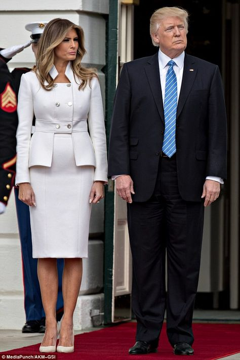 Melania Trump Skirt Suit - Melania Trump looked perfectly stylish in a custom Karl Lagerfeld skirt suit while welcoming the Israeli Prime Minister to the White House.
