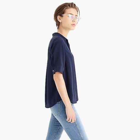 d2b591178f7c8b women's short-sleeve button-up shirt in silk - women's shirts ...