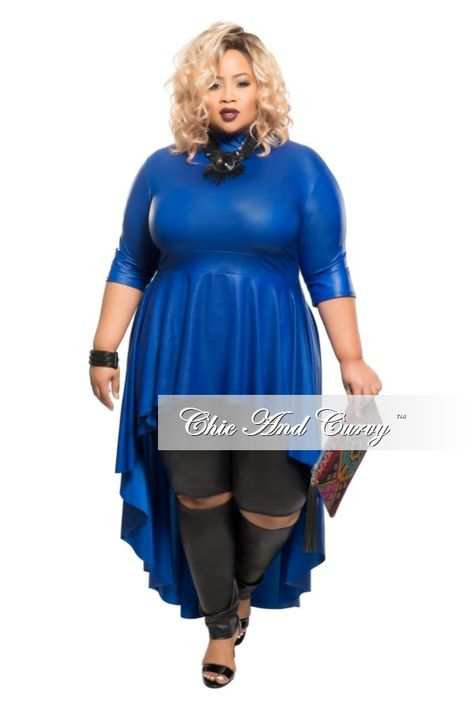 ea6c47ce37b Plus Size Liquid Top with Tail in Royal Blue – Chic And Curvy
