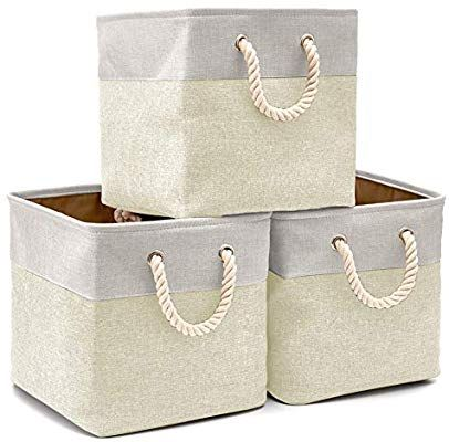 Amazon Com Ezoware 3 Pack Collapsible Storage Bins Basket Foldable Canvas Fabric Tweed Storage Cu With Images Collapsible Storage Bins Cube Storage Storage Bins Baskets