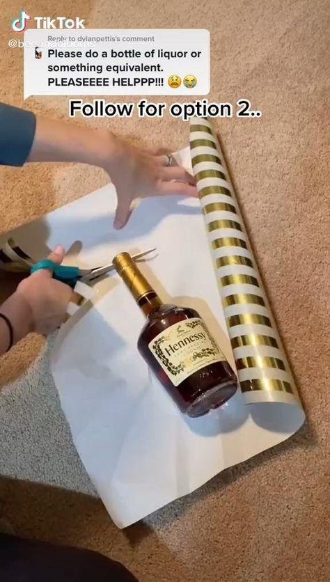 how to wrap a liquor bottle🌞🌼🌟