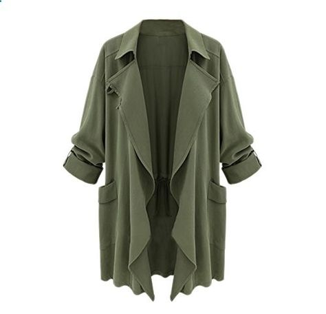 Yhting Women Fall Winter Cotton Blended Cardigan Button Down Solid Trench Coat XXL Green  Go to the website to read more description.