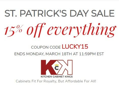 Get 15 Off St Patrick S Day Sale Coupon Code Lucky15 Free Kitchen Designs We Offer A Kitchen Cabinet Kings Shop Kitchen Cabinets Online Kitchen Cabinets
