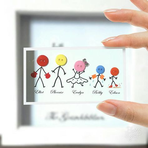 Stick Families with a twist Stick People Family Button Frame