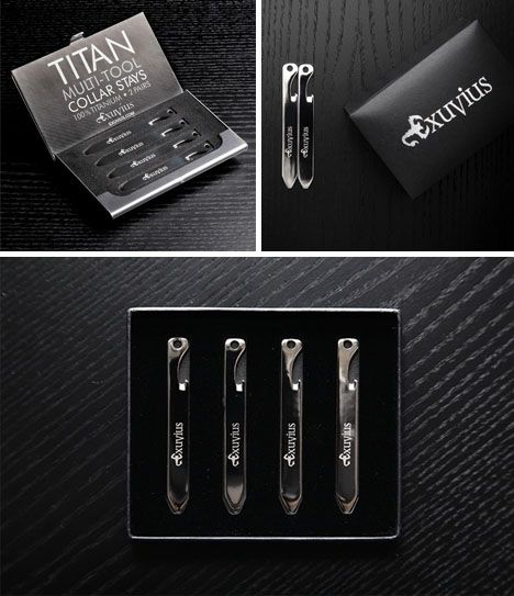 MODERN GOODS SHOP Stainless Steel Collar Stays With Laser Engraved Norwegian Design Made In USA 2.5 Inch Metal Collar Stiffeners