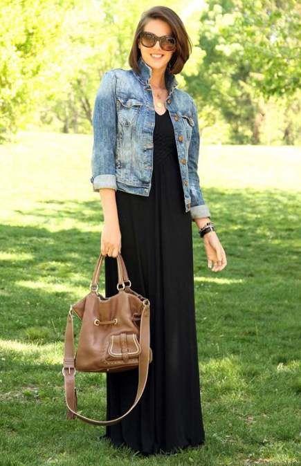 How To Wear Denim Jacket With Jeans Black Maxi 39 Ideas Black Maxi Dress Trendy Dresses Long Black Dress