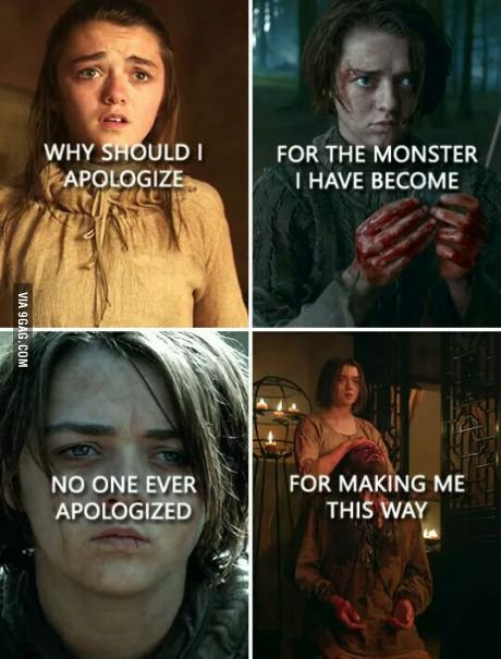 Looking for for ideas for got arya?Browse around this site for perfect Game of Thrones images. These beautiful memes will make you happy. Game Of Thrones Meme, Game Of Thrones Wolves, Game Of Thrones Sansa, Game Of Thones, My Champion, Got Memes, My Sun And Stars, Got Quotes, Calm Quotes