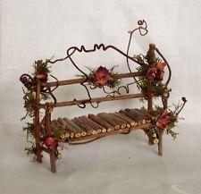 Fairy House Miniature Doll TWIG Furniture GARDEN BENCH Artisan